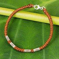 Silver accent wristband bracelet, 'Simply Happy in Rust' - 950 Silver Accent Wristband Braided Bracelet from Thailand