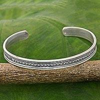Sterling silver cuff bracelet, 'Sterling Freedom' - Hand Made Sterling Silver Cuff Bracelet Cross Motif Thailand