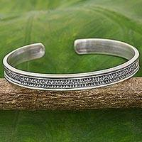 Sterling silver cuff bracelet, 'Sterling Family' - Hand Made Sterling Silver Cuff Bracelet Inscription Thailand