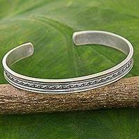 Sterling silver cuff bracelet, 'Mom and Dad' - Karen Tribe Sterling Silver Cuff Bracelet Cross Thailand