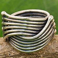 Sterling silver cocktail ring, 'Sterling Hug' - Hand Made Karen Sterling Silver Ring from Thailand
