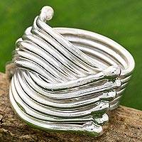 Sterling silver cocktail ring, 'Silver Hug' - High Polish Karen Sterling Silver Ring Thailand
