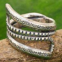 Sterling silver wrap ring, 'Dark Snake Path' - Sterling Silver Wrap Ring Karen Tribe from Thailand