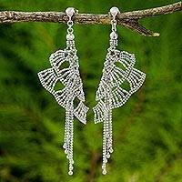 Sterling silver waterfall earrings, 'Butterfly Comet' - Artisan Crafted Sterling Silver Butterfly Theme Earrings
