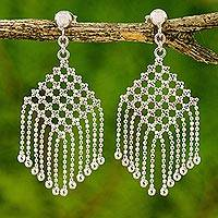 Sterling silver waterfall earrings, 'Mandarin Macrame' - Artisan Crafted Thai Waterfall Earrings in Sterling Silver