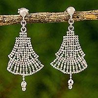 Sterling silver chandelier earrings, 'Sterling Angels' - Skirt Design Sterling Silver Chandelier Earrings Thailand