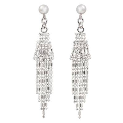 Ball Chain Sterling Silver Waterfall Earrings Thailand