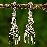 Sterling silver dangle earrings, 'Raining Helixes' (Thailand)