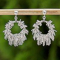 Sterling silver dangle earrings, 'Snow Again' - Handcrafted Sterling Silver Dangle Earrings