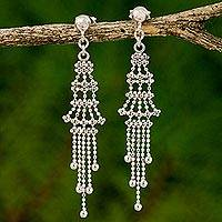 Sterling silver waterfall earrings, 'Sterling Palaces' - Sterling Silver Multi Layer Waterfall Earrings Thailand