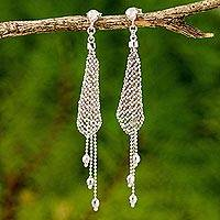 Sterling silver waterfall earrings, 'Sterling Clouds' - Sterling Silver Waterfall Earrings with Beads from Thailand