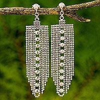 Sterling silver waterfall earrings, 'Decadent Chandeliers' - Beaded Sterling Silver Waterfall Earrings from Thailand