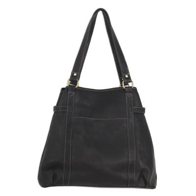Black Leather Shoulder Handbag with Zip and Snap Pockets