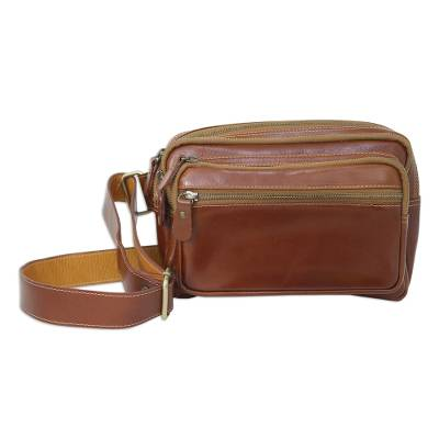 Light Brown Leather Waist Pack with Five Zip Compartments