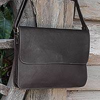 Leather messenger bag, 'Smooth Espresso' - Artisan Crafted Flap Messenger Bag in Espresso Brown Leather