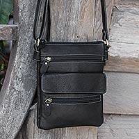 Leather shoulder bag, 'Compact in Black' - Handcrafted Black Leather Shoulder Bag with 8 Pockets