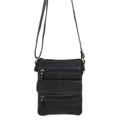 Handcrafted Black Leather Shoulder Bag with 8 Pockets