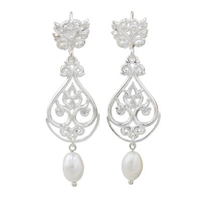 Artisan Crafted Cultured Pearl and Sterling Silver Earrings