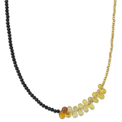 Onyx, Briolette Sapphire, and Gold Plated Beaded Choker