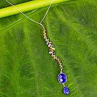 Gold plated lapis lazuli and sapphire Y-necklace, 'Blue Orchid' - Blue Lapis Lazuli and Jewel-Toned Sapphire Y-Necklace