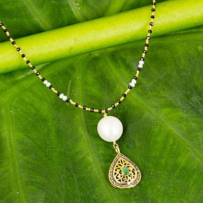 Gold plated multi-gemstone Y-necklace, 'Budding Lotus' - Emerald, Diamond, Onyx, and Cultured Pearl Y Necklace