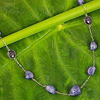Gold plated tanzanite and amethyst long station necklace,