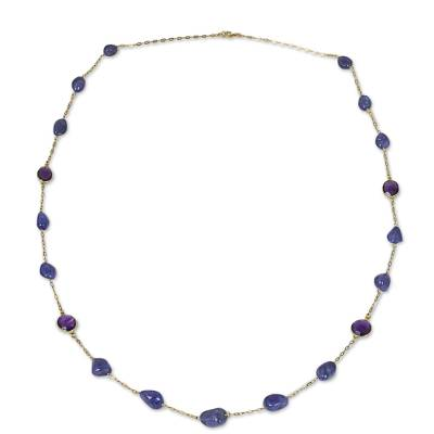Natural Tanzanite and Faceted Amethyst Station Necklace