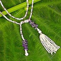 Amethyst and cultured pearl long wrap necklace,