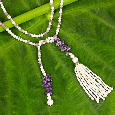 Amethyst and cultured pearl long wrap necklace, 'Bohemian Lavender' - Bohemian Amethyst and Cultured Pearl Beaded Tassel Necklace