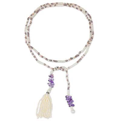 Bohemian Amethyst and Cultured Pearl Beaded Tassel Necklace