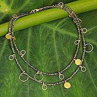 Gold accent labradorite waterfall necklace,