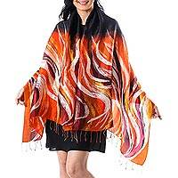 Silk batik shawl, 'Marigold Flames' - Black 100% Silk Batik Shawl with Orange and Yellow