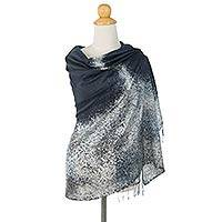 Silk batik shawl, 'The Milky Way' - Thai Silk Batik Shawl in Black with White and Grey