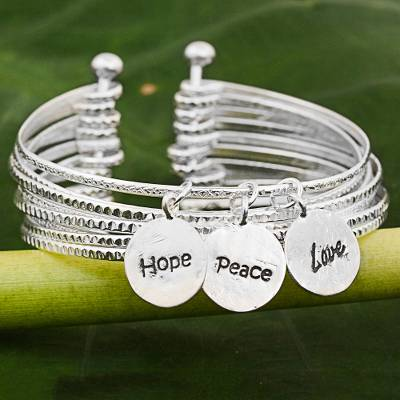 Sterling silver cuff bracelet, 'Hope, Peace and Love' - Sterling Silver Cuff Charm Bracelet from Thailand