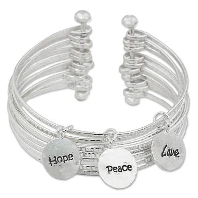 Sterling Silver Cuff Charm Bracelet from Thailand