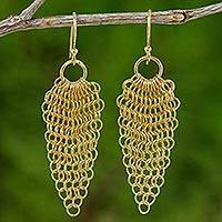 Gold plated dangle earrings, 'Chain Mail Lotus' - Lotus Chain Mail Earrings Handmade in 18k Gold Plate