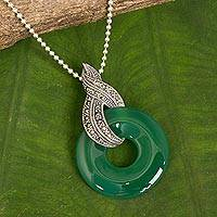 Chalcedony and marcasite pendant necklace, 'Mandarin Moon' - Handmade Green Chalcedony and Marcasite Pendant Necklace