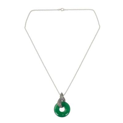 Handmade Green Chalcedony and Marcasite Pendant Necklace