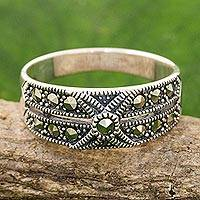 Marcasite band ring, 'Sweet Melody' - Artisan Crafted Marcasite and Sterling Silver Band Ring