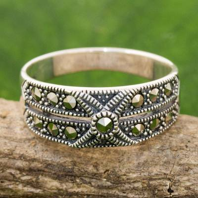 Artisan Crafted Marcasite and Sterling Silver Band Ring