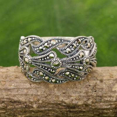 Marcasite band ring, 'Whispering Love' - Hand Crafted Marcasite and Sterling Silver Band Ring