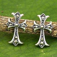 Marcasite button earrings, 'Metallic Cross' - Handmade Marcasite and Sterling Silver Cross Button Earrings