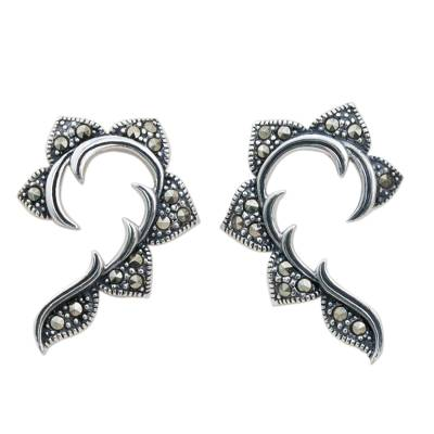 Hand Crafted Marcasite and Sterling Silver Button Earrings