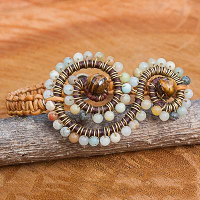 Tiger's eye and amazonite beaded bracelet, 'Cool Bohemian' - Tiger's Eye and Amazonite Beaded Bracelet from Thailand