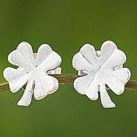 Sterling silver stud earrings, 'Lucky Earrings' - Sterling Silver Clover Stud Earrings from Thailand