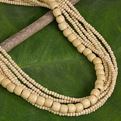 Wood beaded necklace, 'Hawaii Dance' - Natural Wood Beaded Necklace Hand-Crafted in Thailand