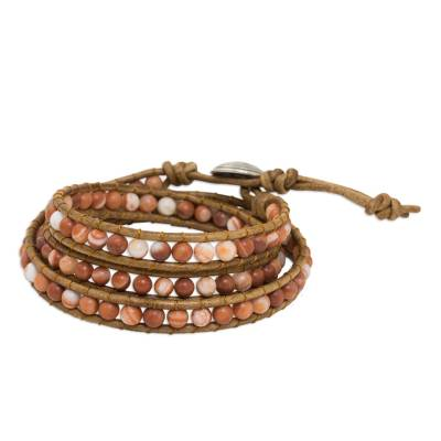 Thai Jasper and Leather Cord Bracelet with Silver Clasp