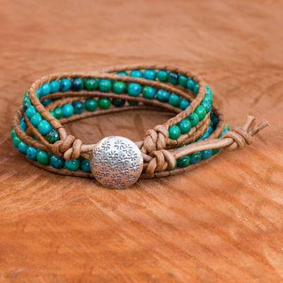 Serpentine and leather wrap bracelet, 'Cozy Blue' - Hand-Crafted Serpentine and Leather Wrap Bracelet