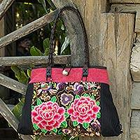Leather accented cotton shoulder bag, 'Peony Garden' - Cotton Handbag with Embroidered Peonies and Leather Strap