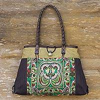 Leather accented cotton shoulder bag, 'Phoenix in Green' - Artisan Crafted Cotton Shoulder Bag with Embroidery